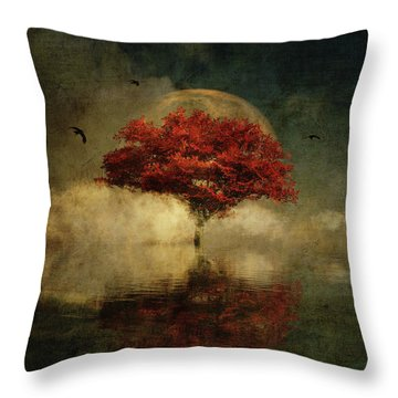 Throw Pillow featuring the digital art American Oak With Full Moon by Jan Keteleer