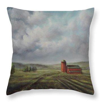 American Scene Red Barn  Throw Pillow