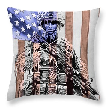 American Soldier Throw Pillow