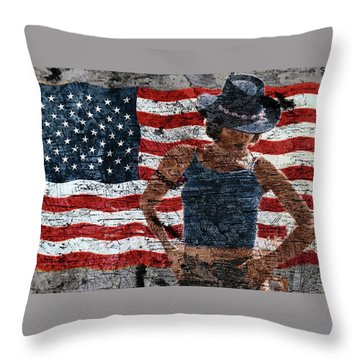 American Woman Throw Pillow