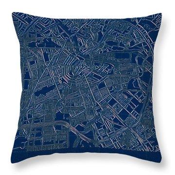 Amsterdam Blueprint City Map Throw Pillow