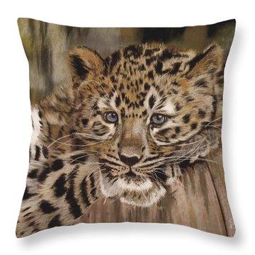 Amur Leopard Cub Throw Pillow