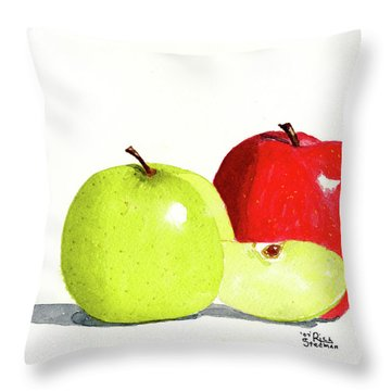Throw Pillow featuring the painting An Apple A Day by Rich Stedman