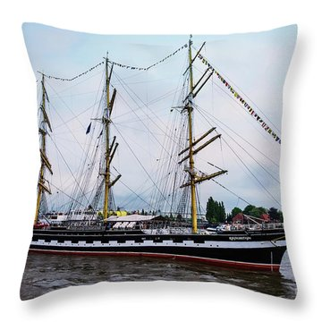 An Exit Sailboat Krusenstern On Parade Throw Pillow