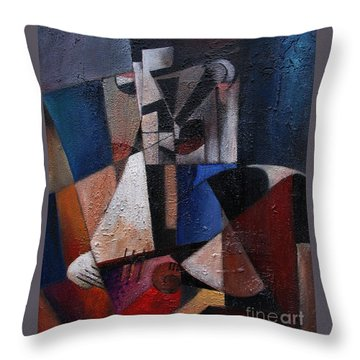 Throw Pillow featuring the painting An Fear Lies An Gitar by Val Byrne