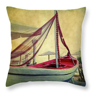 Throw Pillow featuring the photograph an Old Boat by Milena Ilieva