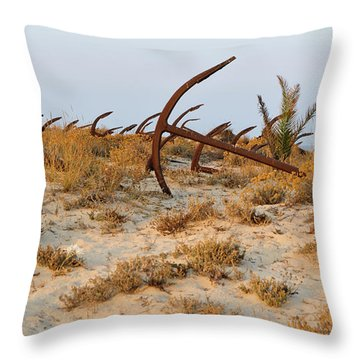 Anchors In Barril Beach Throw Pillow