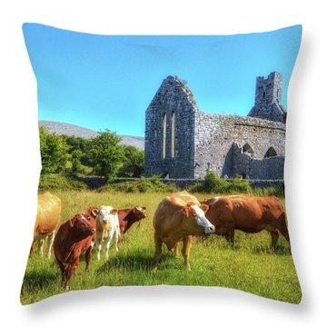 Ancient Cows Throw Pillow