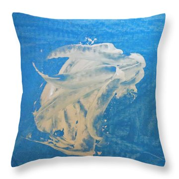 Angel And Dolphin Riding The Waves Throw Pillow
