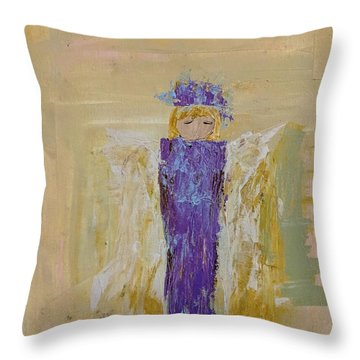 Angel Girl With A Unicorn Throw Pillow