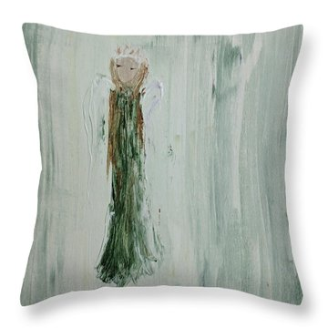 Angel In Green Throw Pillow