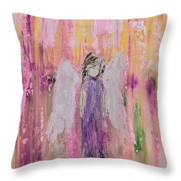 Angel In  Paradise Throw Pillow