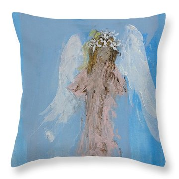 Angel With A Crown Of Daisies Throw Pillow