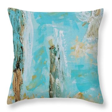 Angels Appear On Golden Clouds Throw Pillow