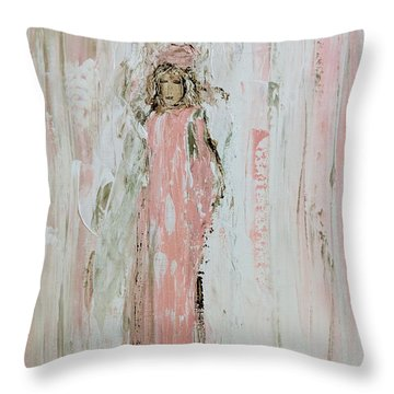 Angels In Pink Throw Pillow