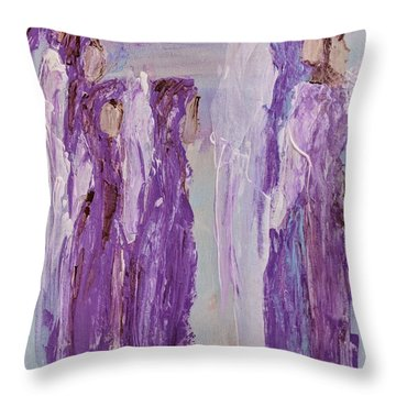 Angels In Purple Throw Pillow