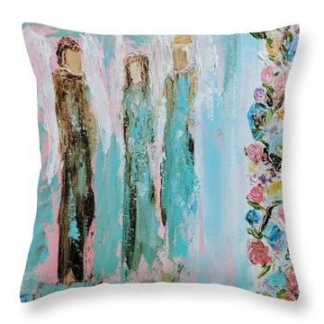 Angels In The Garden Throw Pillow
