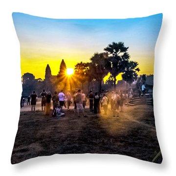 Angkor Wat At Sunrise - Siem Reap, Cambodia Throw Pillow