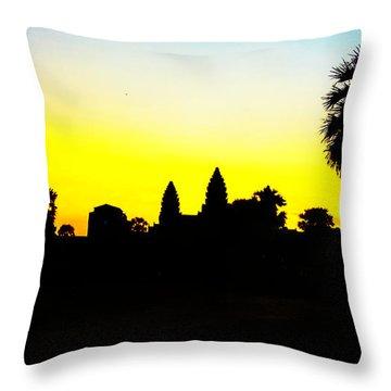 Angkor Wat Silhouette Throw Pillow