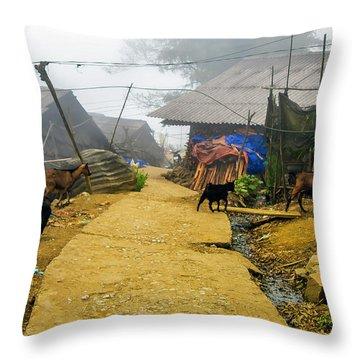 Animal Farm In Sapa, Vietnam Throw Pillow