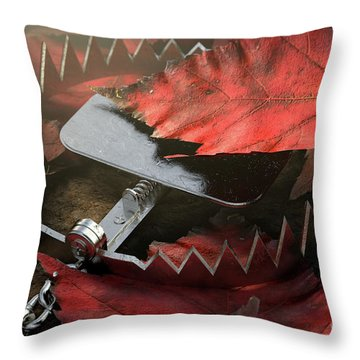 Animal Trap In Leaves Throw Pillow