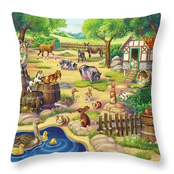 Animals At The Petting Zoo Throw Pillow