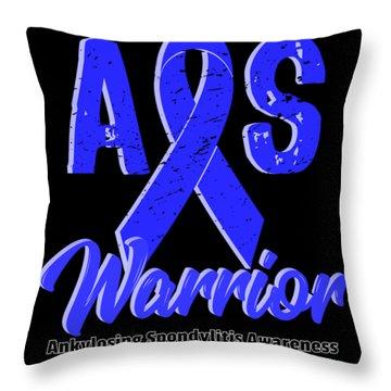 Ankylosing Spondylitis Warrior Blue Support Ribbon Throw Pillow