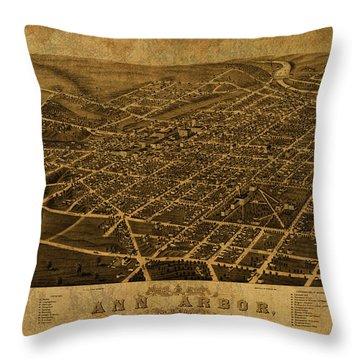 Ann Arbor Michigan Vintage City Street Map 1880 Throw Pillow