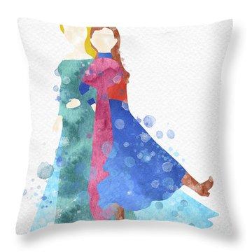 Anna And Elsa Watercolor Throw Pillow