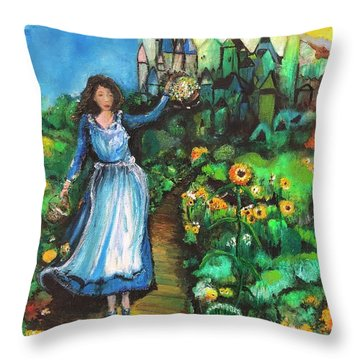 Annabelle And Sunflowers Throw Pillow
