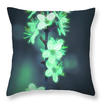 Another World - Glowing Flowers Throw Pillow