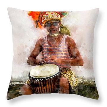 Antiguan Drummer Throw Pillow