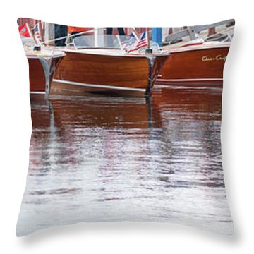 Throw Pillow featuring the photograph Antique Classic Wooden Boats In A Row Panorama 81112p by Rick Veldman