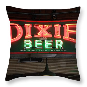 Antique Dixie Beer Neon Sign Throw Pillow