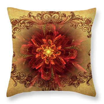 Antique Foral Filigree In Crimson And Gold Throw Pillow