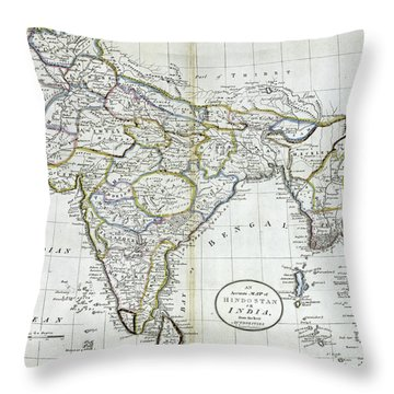 Antique Map Of India   Throw Pillow