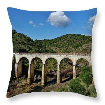 Antique Mertola's Bridge In Alentejo Throw Pillow