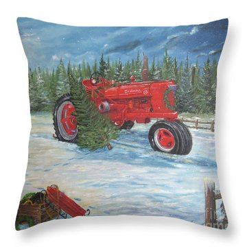 Antique Tractor At The Christmas Tree Farm Throw Pillow