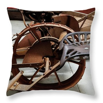 Antique Tractor Seat Throw Pillow