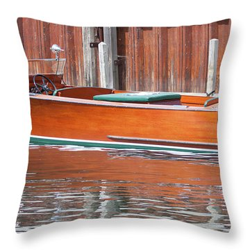 Throw Pillow featuring the photograph Antique Wooden Boat By Dock 1302 by Rick Veldman