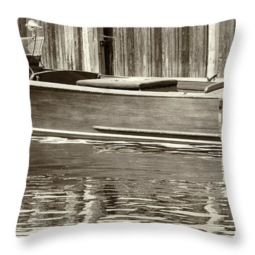 Throw Pillow featuring the photograph Antique Wooden Boat By Dock Sepia Tone 1302tn by Rick Veldman