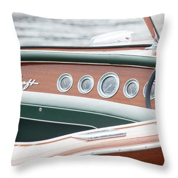 Throw Pillow featuring the photograph Antique Wooden Boat Dashboard 1306 by Rick Veldman