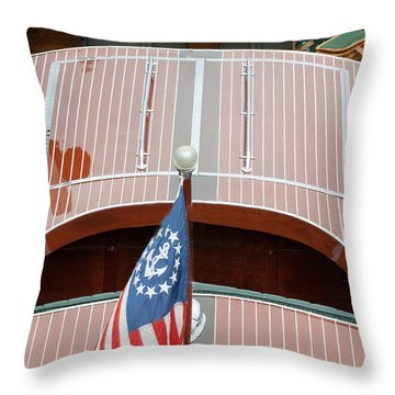 Antique Wooden Boat With Flag 1303 Throw Pillow