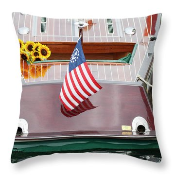 Throw Pillow featuring the photograph Antique Wooden Boat With Flag And Flowers 1304 by Rick Veldman