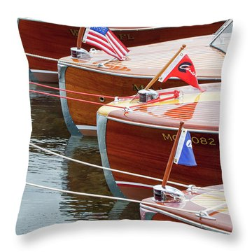 Throw Pillow featuring the photograph Antique Wooden Boats In A Row Portrait 1301 by Rick Veldman