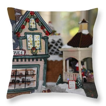 Antiques In Christmas Town Throw Pillow