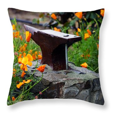 Anvil In The Poppies Throw Pillow