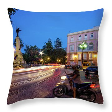 Throw Pillow featuring the photograph Apodaca Boardwalk Traffic Lights Cadiz Spain by Pablo Avanzini