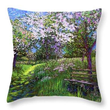 Apple Blossom Trees Throw Pillow