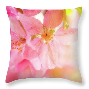 Apple Blossoms Bright Glow Throw Pillow
